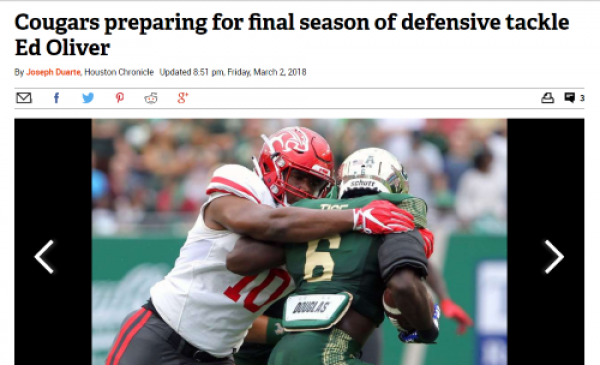 Cougars Peparing for Ed Oliver's Final Season