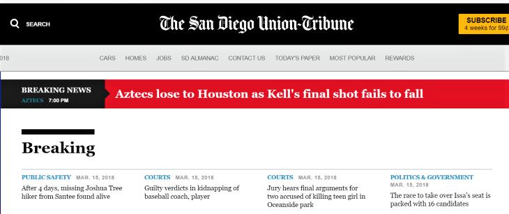 Breaking News San Diego Union Tribune