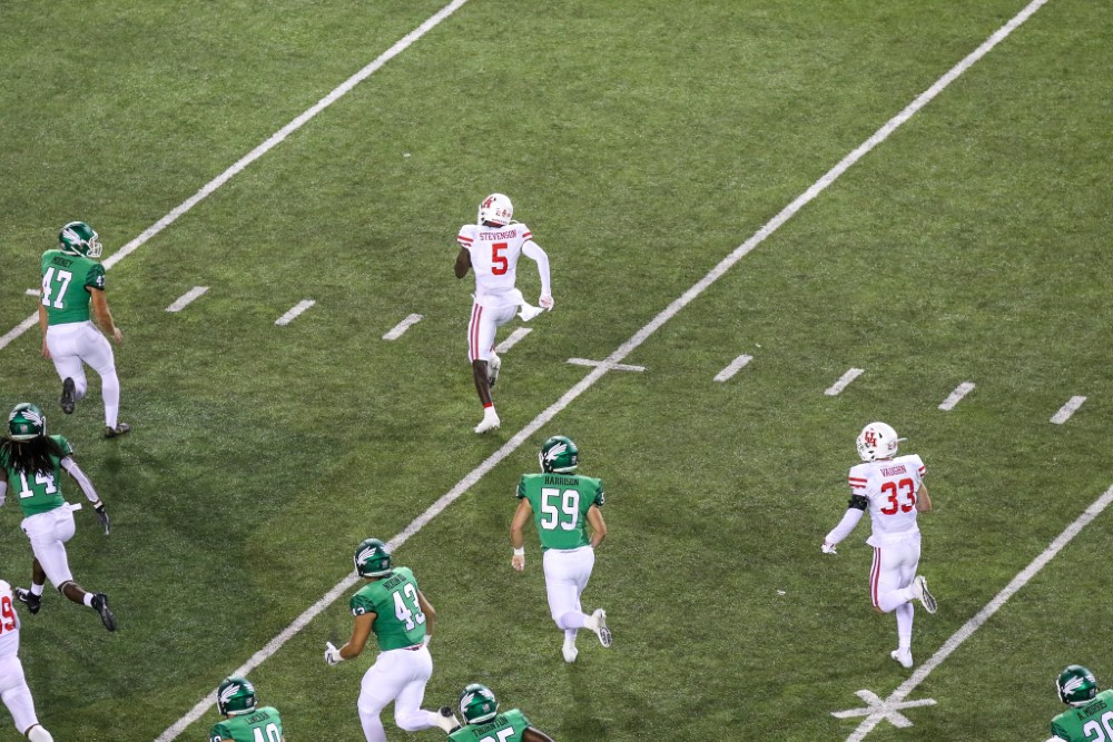 Stevenson finds the opening on his TD return.